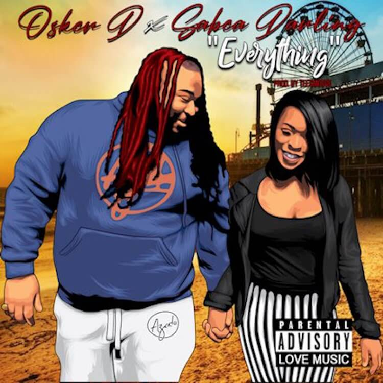"Man with Dreadlocks blue hoodie and white pants holding a womans hand with dark hair wearing a black low cut shirt and black and white striped pants with the words ""Okser D x Sabea Darling and title track ""Everything"" 