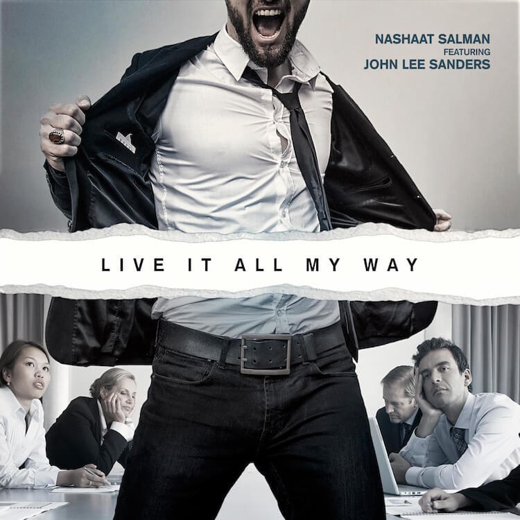 "Man Wearing a Suit and Skinny Tie opening up his jacket with words ""live it all my way"" 