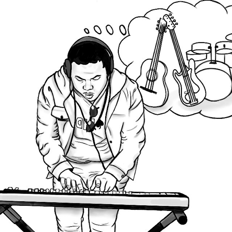 Drawing of a man playing hte keyboard with a thought bubble of instruments | Onemanjamz song of the day| Eat Sleep Breathe Music