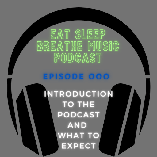 """Headphones with Words """"eat sleep breath music podcast Episode 000 Introduction to the podcast and what to expect""""
