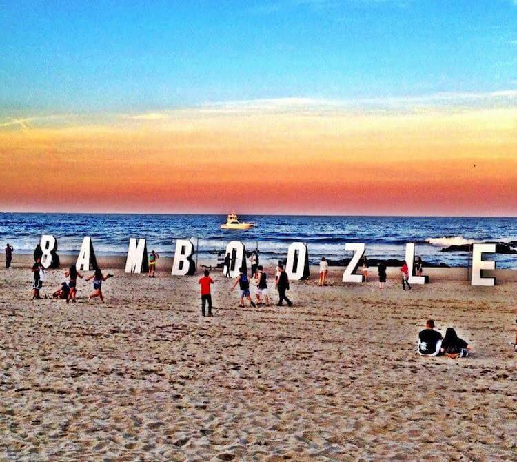 bamboozle in Asbury Park Wooden Letter Cuttouts on the Beach spelling Bamboozle | Eat Sleep Breathe Music