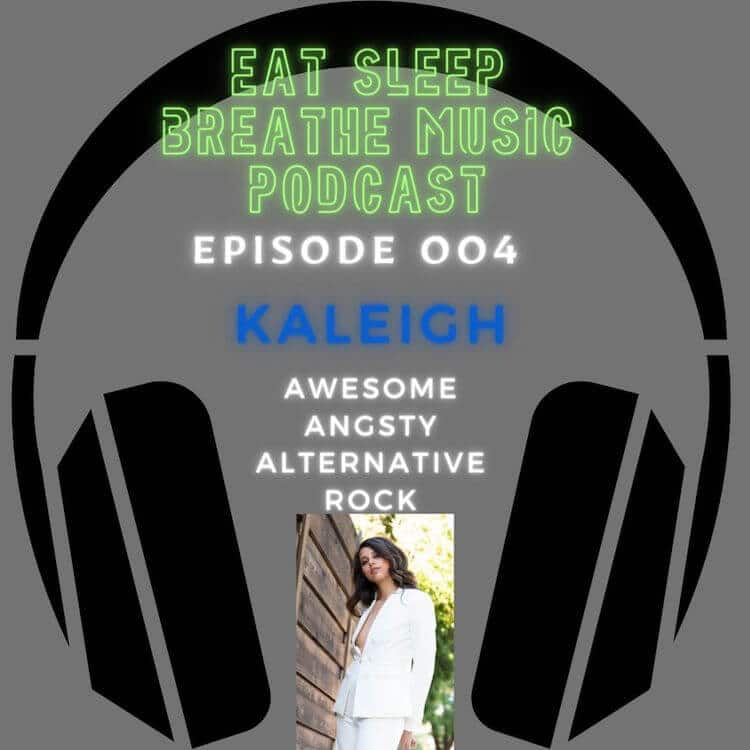 "Photo of black headphones with the words ""Eat Sleep Breathe Music Podcast Episode 004 Kaleigh Awesome Alternative Rock