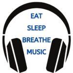 "Eat Sleep Breathe Music Logo Headphones with words in blue saying ""Eat Sleep Breathe Music | Eat Sleep Breathe Music"