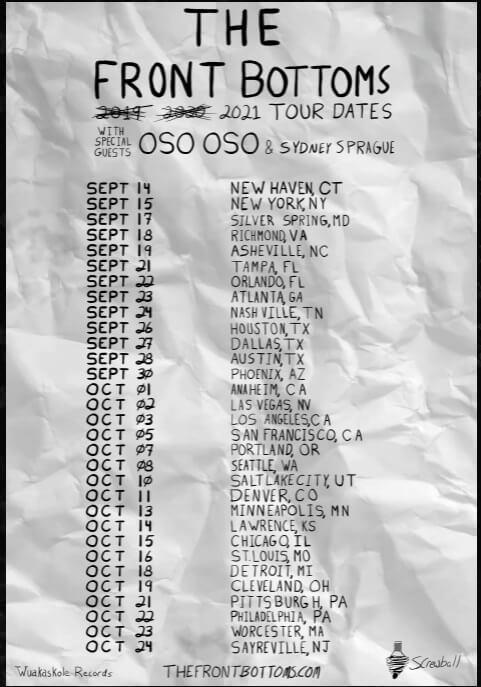 Photo of the 2021 Front Bottom Tour Dates   Eat Sleep Breathe Music